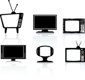 Silhouettes of black televisions. Illustrations of different styles of tv television set Stock Photo