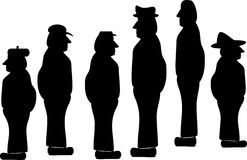 Silhouettes of blue collar workers. Silhouette illustrations of mature blue collar workers Stock Images