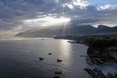 Silhouettes of boats early dawn at port in Sorrento Italy Royalty Free Stock Images