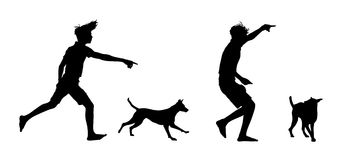 Silhouettes of a boy playing with his dog. Set of two silhouette of a little boy playing and training his dog Royalty Free Illustration