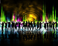 Silhouettes of boys and girls. Dancing with background color Stock Photo