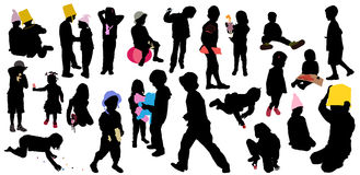 Childrens game, silhouettes Royalty Free Stock Images