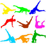 Silhouettes breakdancer на белой предпосылке также вектор иллюстрации притяжки corel Стоковая Фотография