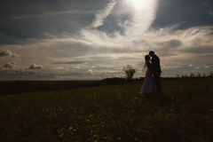 Silhouettes of bride and groom on the background field sky Stock Images