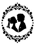 Silhouettes of bride and groom Royalty Free Stock Images
