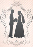 Silhouettes of the bride and groom_image Royalty Free Stock Photography