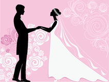 Silhouettes of the bride and groom at a wedding ceremony on a pink background Royalty Free Stock Images