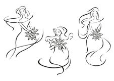 Silhouettes of brides with flowers. Silhouettes of pretty brides girls in outline sketch style with bouquets of flowers and pointed leaves for bridal salon logo Stock Image