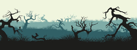 Silhouettes of broken trees and marsh grass. Swamp panorama. Hor. Izontal image of old forest. Vector illustration Royalty Free Stock Photos
