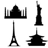 Silhouettes of buildings. And sights on a white background Stock Images