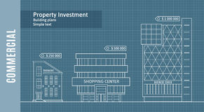 Silhouettes of buildings on the drawing paper, Commercial Real Estate Infographics .  Royalty Free Stock Photos