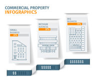 Silhouettes of buildings on the white paper tab, Commercial Real Estate Infographics. Vector illustration. Royalty Free Stock Photos