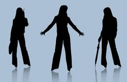 Silhouettes of business ladies Royalty Free Stock Photo
