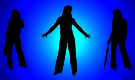 Silhouettes of business ladies Stock Photos