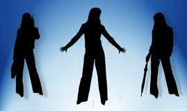 Silhouettes of business ladies. And time Royalty Free Stock Photography