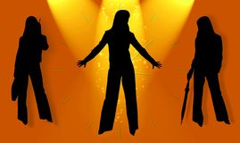 Silhouettes of business ladies Royalty Free Stock Photos