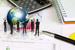 Silhouettes of business man and business graph Stock Image