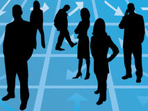 Silhouettes of business people. Standing of floor with arrows in many direction Royalty Free Stock Images