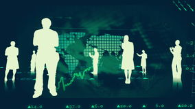 Silhouettes of business people against stock market graphics vector illustration
