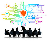 Silhouettes of Business People and Antivirus Concept Stock Photo