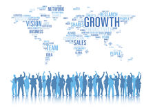 Silhouettes of Business People Arms Raised and Global Business C Royalty Free Stock Images