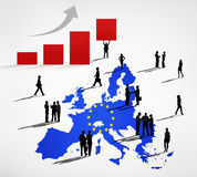 Silhouettes Of Business People On A Blue Cartography Of EU. And An Increasing Bar Graph Royalty Free Stock Images