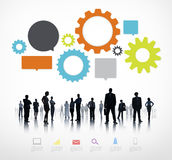 Silhouettes of Business People with Business Infographic Stock Image
