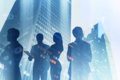 Business team in city, binary code royalty free stock photos