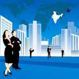 Silhouettes of business people, city and world map. Background Stock Photo