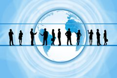 Silhouettes of business people. In different postures on abstract background with earth. Elements of this image furnished by NASA stock illustration