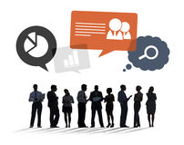 Silhouettes of Business People Discussing Business Issues Stock Image