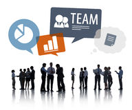 Silhouettes of Business People Discussing Teamwork Royalty Free Stock Image