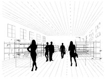 Silhouettes of business people Stock Photography