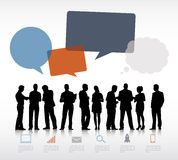 Silhouettes of Business People and Empty Speech Bubbles Royalty Free Stock Photo