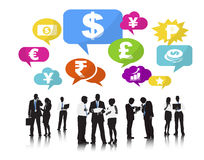 Silhouettes of Business People and Finance Concepts Stock Images