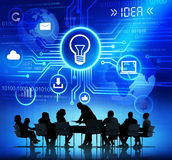 Silhouettes of Business People and Idea Concepts Stock Images