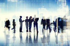 Silhouettes of Business People Inside the Office Royalty Free Stock Images