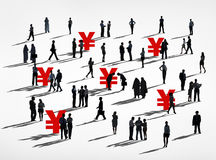 Silhouettes of Business People Japanese Currency Royalty Free Stock Photo