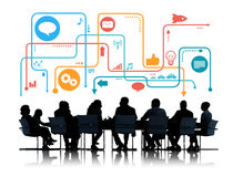 Silhouettes of Business People Meeting with Social Media Symbols stock illustration