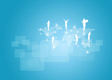 Silhouettes of business people, network and world Royalty Free Stock Photo