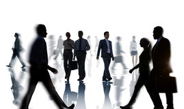 Silhouettes of Business People Rush Hour Stock Photo