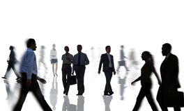 Silhouettes of Business People Rush Hour Royalty Free Stock Image