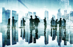 Silhouettes of Business People's Busy Day Concept Stock Image