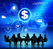 Silhouettes of Business People and Shopping Concepts Stock Image