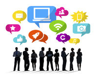 Silhouettes of Business People Social Media Stock Photo