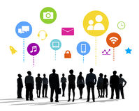Silhouettes of Business People and Social Media Concepts Royalty Free Stock Photos