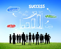 Silhouettes of Business People and Success Concepts Stock Image