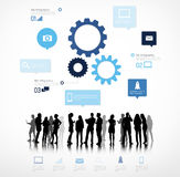 Silhouettes of Business People Team Working Royalty Free Stock Images
