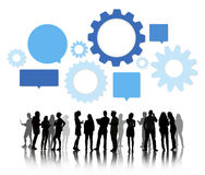 Silhouettes of Business People Team Working Royalty Free Stock Photo