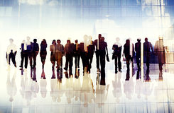 Silhouettes of Business People Urban Scene Concept stock photography